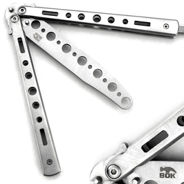 Butterfly Balisong Trainer Messer Knife Trainingsmesser Übungsmesser Silber