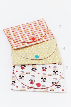 Pochette à barrettes en tissu imprimé