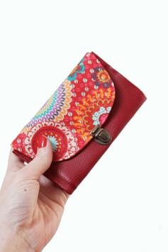 Porte monnaie rouge multicolore