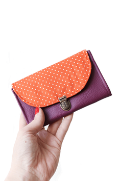 Porte monnaie violet orange pois