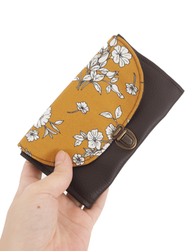 Porte monnaie marron moutarde fleurs