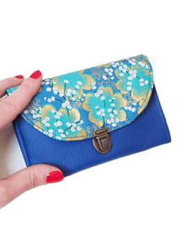 Porte monnaie bleu doré japonais