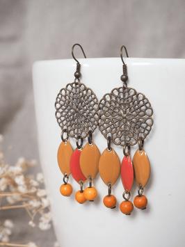 Boucles d'oreilles jaune / orange