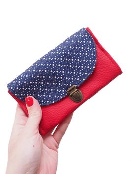 Porte monnaie rouge bleu