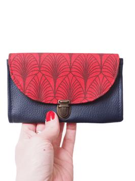 Porte monnaie bleu rouge feuilles