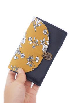 Porte monnaie marine moutarde fleurs