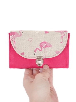 Porte monnaie rose flamants roses