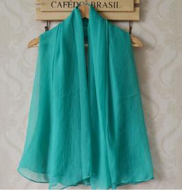 Etole Légère Mousseline Soie Bleu Vert (réf : EL216)