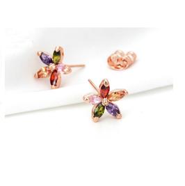 Boucle d'Oreilles Fleurs Cristal (réf : 2442BF)