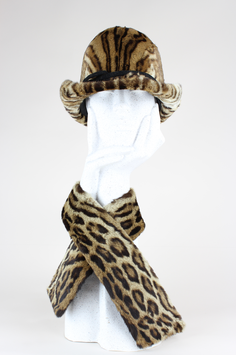 Leopard Print Fur Hat & Collar
