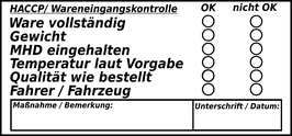 HACCP Wareneingangs- Stempel (Typ 1: Text)