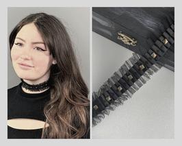 Halsband / Choker schwarz aus Tüll mit Satinband und Nieten, Breite ca. 3,5 cm B