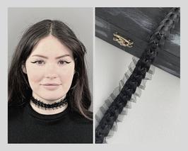 Halsband / Choker schwarz aus Tüll mit Satinband, Breite 3 cm A