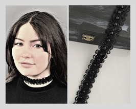 Halsband / Choker Posamente mit Perlen und Glitzer, mit Satinband, Breite ca. 2,5 cm E