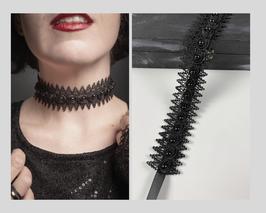 Halsband / Choker Ätzspitze, mit genieteten Perlen in Blüten, Satinband, Breite ca. 3,5 cm G
