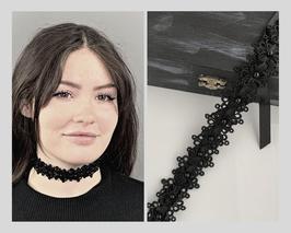 Halsband Kropfband Choker Posamente mit Perlen, Satinband, Breite ca. 3cm F