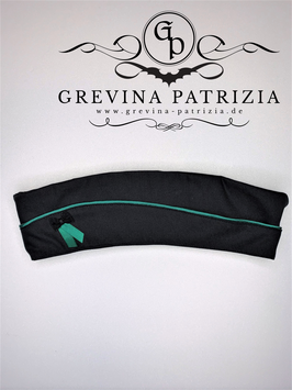 Schiffchen schwarz mit grüner Paspel, Satinband und Organzaschleife, Unikat Größe L/ 60