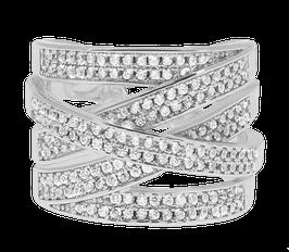 """Shimmer Cubic"" Ring versilbert"