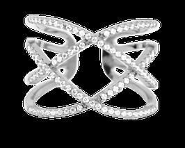 """Shimmer Curve"" Ring versilbert"