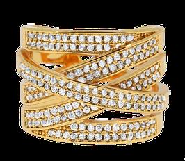 """Shimmer Cubic"" Ring vergoldet"
