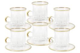 Хрустальный набор для чая Same  ПИЗА ЗОЛОТО на 6 персон 12 предметов