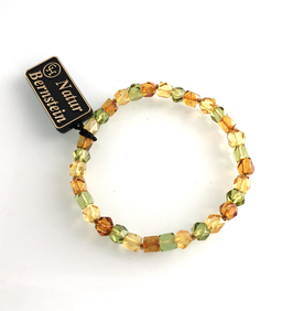 Bernstein Armband 3 farbige facettierte Würfel