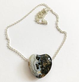 Sardonyx-Herz an Silberkette