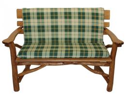 Universal Auflage für 2-Sitzer Gartenbank in grün/beige kariert 98 x 88 cm