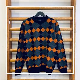 Edwin Lozenge Crewsweater Grey/Black/Auburn