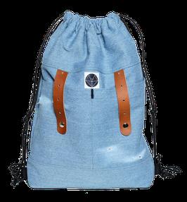 Turnbeutel MUUTEN Jeans/Lederriemen braun