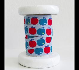 Webband  'Äpfel' blau/rot - 1m
