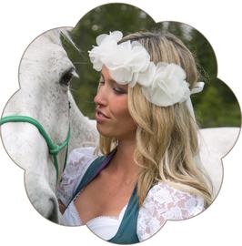 LAURA Blüten Haarkranz Seide Braut