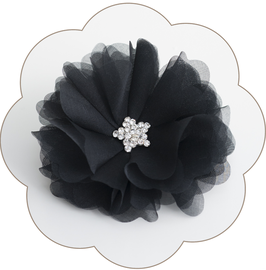 CARLY Seiden Haarblüte schwarz Gala edel