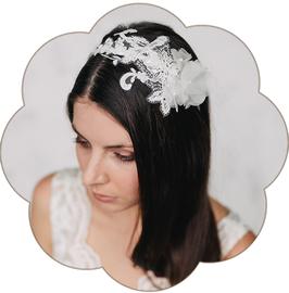 ELINOR Haarreif Spitze Blüten Seide Braut