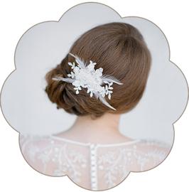 BERNICE Braut Haarschmuck Spitze Federn Ivory
