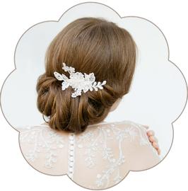 ELSA Haarschmuck Spitze Braut Ivory