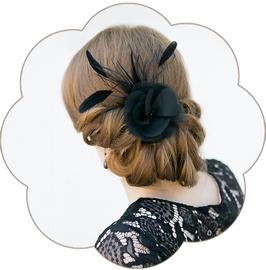 ADRIANE Haarblüten-Federn Haarschmuck Gala schwarz