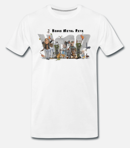 """Herren T-Shirt, """"Heavy Metal Pets"""", weiß"""