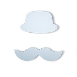 """chapeau-moustache bois adhésif """"bleu pâle"""""""