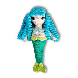 """sirène en crochet """"cheveux turquoise"""" avec grelot"""