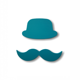 """chapeau-moustache bois adhésif """"pétrole"""""""