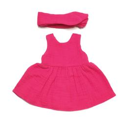 robe en mousseline & ruban pour poupée 34-38cm