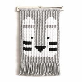 macramé pixels - TYSON le tigre gris