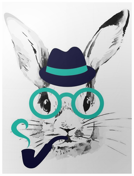 """poster """"lapin hipster"""""""