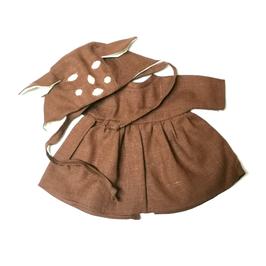 """robe & bonnet """"faon"""" pour poupée 34-38cm"""