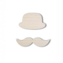 """chapeau-moustache bois adhésif """"brut"""""""