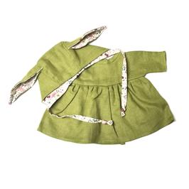 """robe & bonnet """"lapin"""" pour poupée 34-38cm"""