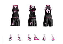 Ensemble de Basket Féminin Espace Sports (short+maillot) Black/pink