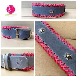 Lederhalsband grau-neonpink