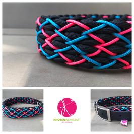 Halsband Black meets Neon pink-blue